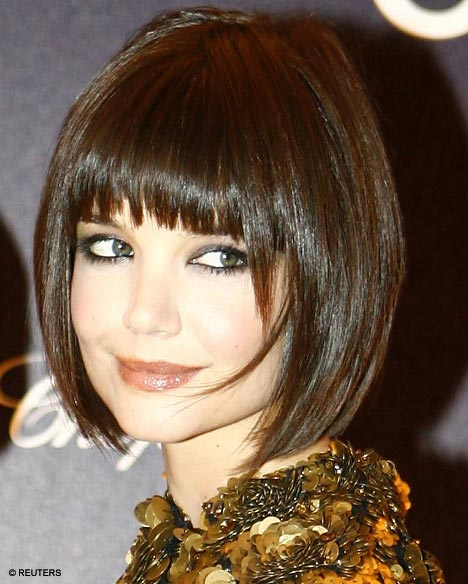 Bob Haircut NYC Choppy Bangs -Katie Holmes